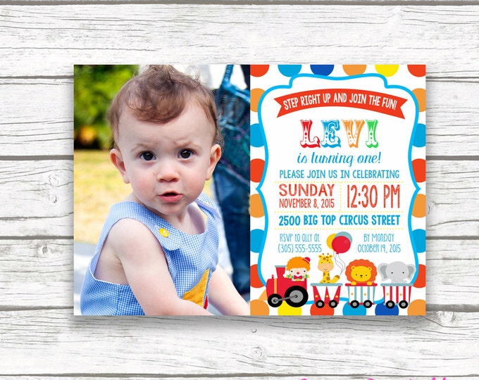 Birthday casa confetti design studio circus birthday party photo invitation polka dot carnival picture invitation first 1st birthday filmwisefo