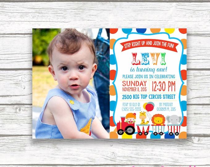 Circus Birthday Party Photo Invitation, Polka Dot Carnival Picture Invitation, First 1st Birthday, Printable Invitation, Matching Back