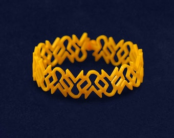 Gold Ribbon Shaped Silicone Bracelet (RE-SILBRB-11)