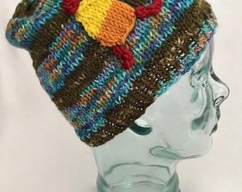Hand Knit Hat, Cunning Hat, Ode to Jayne Cobb, Hand Dyed Yarn, Knit Beanie, Striped Hat, Warm Wool Hat Meta Beanie Meme Hat Free Shipping