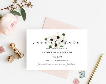 Save The Date Printable Template, Floral Save The Date Template. Modern Calligraphy Save The Date Printable Template. Flower Save The Date