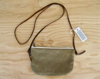 Waxed Canvas Mini Cross Body Bag - field tan mini zipper bag with adjustable brown leather strap