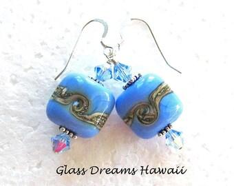 Periwinkle Blue Glass Dangle Earrings, Handmade Lampwork Glass Earrings, Fashion Jewelry, Dangle Earrings, Lampwork Bead Earrings