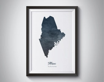Maine State Map, Instant Download, Digital Print, Maine Art Map