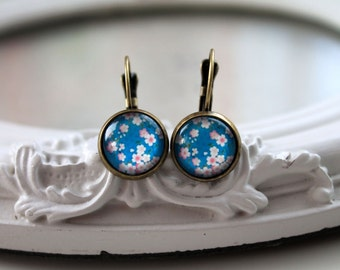 Pretty pink flower sakura earrings sweet lolita feminine leverback