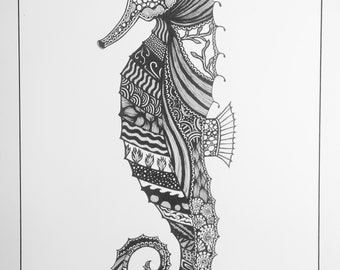 Intricate seahorse drawing (A2 mat board)