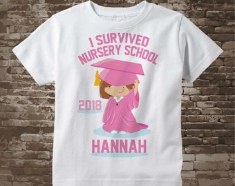 Personalized I Survived Nursery School Shirt Nursery School Graduate Shirt Child's Back To School Shirt or Onesie 04152014a