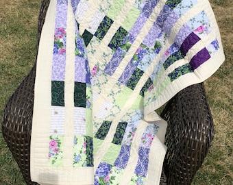 Floral garden girl patchwork quilt handmade