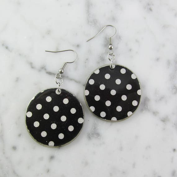 Resin earrings, white, gray, dots, handmade, sold, black background, hypoallergenic hook, unique