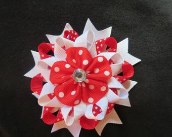 "Red Dotted and White Loopy 4"" Hair Bow With Ribbon Flower and Rhinestone #F"