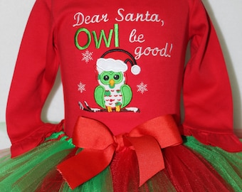 Girls Christmas outfit, Baby girl Christmas outfit, Red Christmas bodysuit set, Owl Christmas onesie set, Santa Owl shirt,Red and green tutu