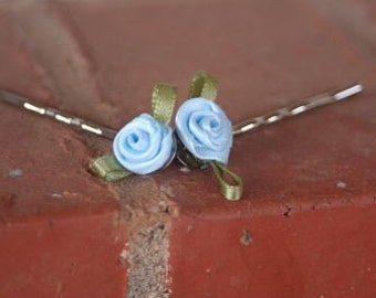 Something Blue Satin Hair Pins Set of Two