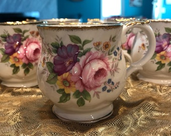 Queen's Fine Bone China Made in England Est. 1875 A Churchill Brand Set of 5 Teacups/Coffee Cups with Gold Trim Wildflower Item #607013331