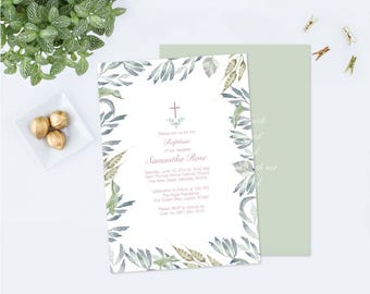 Customizable Text Baptism Invitation, Girl Baptism, DIY Invite, Twins Greenery Baptism Invitation, Editable Template Invite Botanical Leaf