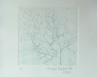 """Hand Pulled Etching """"Winter Tree"""" by Meyet Falduto with Free Postage"""