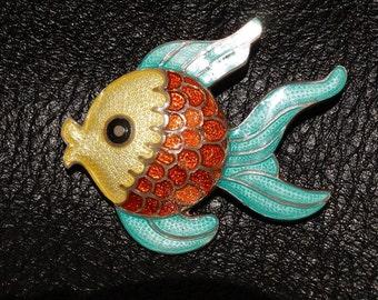 Margot De Taxco Design #8873 Sterling Silver Enamel Fish Brooch Pin Vintage