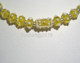 Yellow and white Handmade Lampwork glass bead set