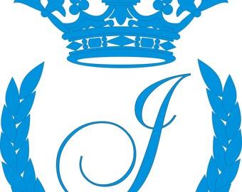 "Crown, laurel wreath and the monogram letter ""J"" - vector files  .crd .ai .svg .jpg"