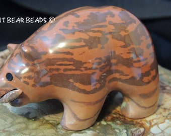Brown Grizzly Bear with Fish Fetish Print Stone from Australia Cute Rolly Polly Bear