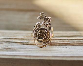 Rose Ring, Boho Ring, Flower Ring, Gold Ring for Women, Statement Ring, Bohemian Ring, Rose Jewelry, Flower Jewelry, Women's Bronze Ring
