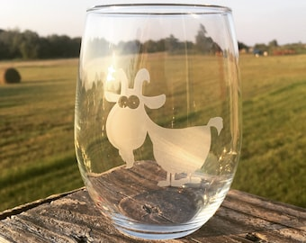 Quirky goat etched wine glass | crazy goat lady | livestock | farmhouse | farm mama | birthday present | over the hill | old goat