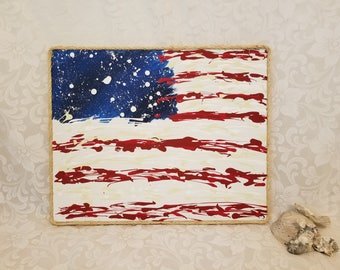 American Flag Rustic Abstract Painting