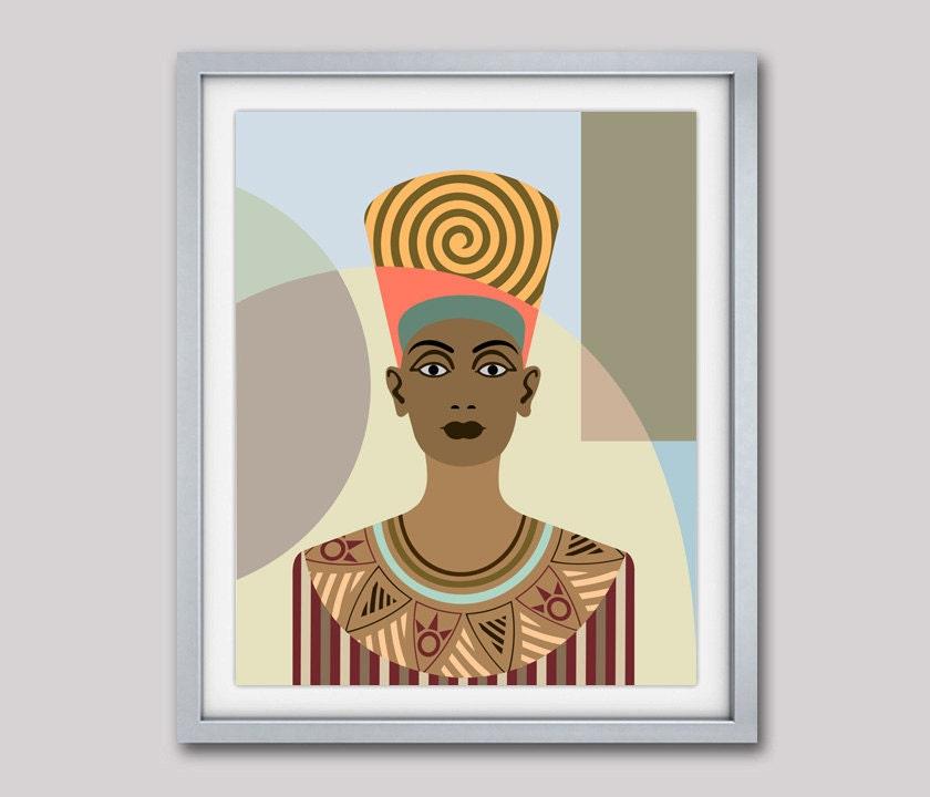 queen nefertiti pop art poster egyptian art ancient egypt queen celebrity portrait art decor. Black Bedroom Furniture Sets. Home Design Ideas
