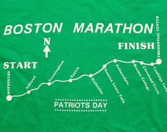 Boston Marathon Route Map T-Shirt, Patriots' Day Race, Vintage 80s