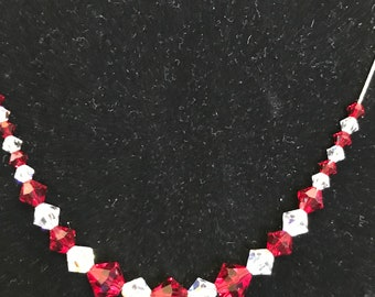 Sterling Silver chain with Red and Clear  Swarovski Sparkling Crystals