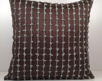 "Dark Brown Pillow, Decorative Throw Pillow Cover, Cushion Cover, Accent Pillow, Linen Blend Pillow, Teal Velour Detailed, 12""x18"" size."