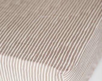 Gray and White Striped Fitted Crib Sheet. Crib Bedding. Crib Sheet.