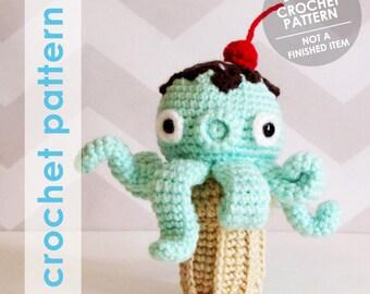 crochet amigurumi pattern, takochu octopus ice cream cone plushie, stuffed animal, amigurumi plushie crochet pattern, kawaii amigurumi