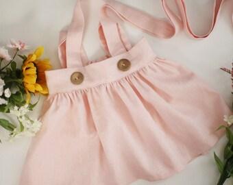 Pink Linen Suspender Skirt |  Suspender Skirt | Pink Linen Skirt | Linen Skirt | Toddler Skirt | Pink Suspender Skirt | Girls Skirt