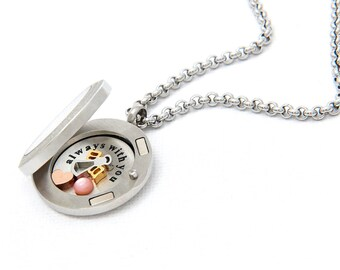 Floating Locket Secret Message Necklace with Choice of Charms