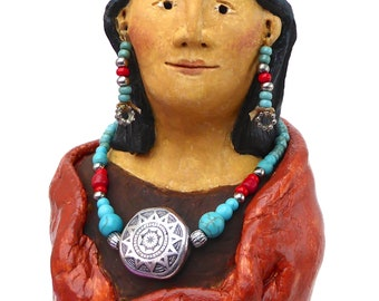 Native American Indian southwest style woman spirit sculpture beaded jewellery turquoise silver coral necklace ancient rock art petroglyphs