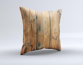 The Vertical Raw Aged Wood Planks ink-Fuzed Decorative Throw Pillow