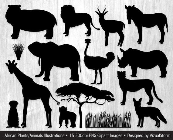 African Animal Silhouettes Clipart Safari Jungle Animals - Word doc invoice template download silhouette online store