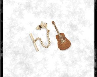 Gold & Cloisonné Guitar Tie Tack