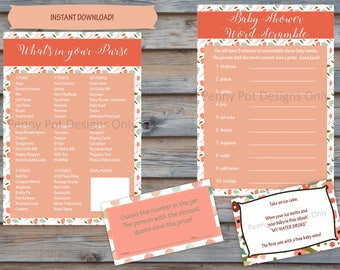 Floral Baby Shower Games - Word Scramble - My Water Broke - What's in your Purse - Guess How Many ( Instant Download )