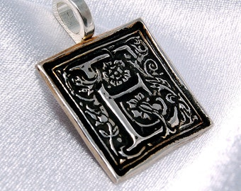 CLEARANCE - Wax seal recycled silver initial pendant - E  is for Enchanting
