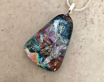 Unique Fan Shaped Fused Dichroic Glass Pendant and Necklace – Colorful Dichroic Jewelry – OOAK Jewelry for Her – 13-18