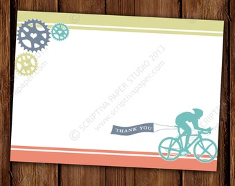 Cyclist, Road Bike Thank You Notes - Cyclist Stationery - Bicycle Stationary Set
