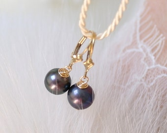 Freshwater pearl earrings Klappbrisuren Gold filled freshwater pearl earrings yellow gold