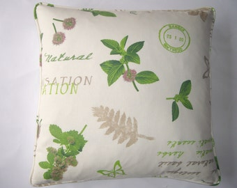 Garden herbs cushion cover in white and green.