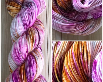 Hand dyed yarn Variegated Speckled Sock weight 463 years