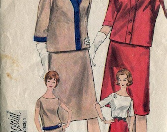 FREE US SHIP Vogue 4284 Retro 1960's Special Design Suit Jacket Skirt Blouse Bust 34 Jackie Kennedy Fashion Style Sewing Pattern