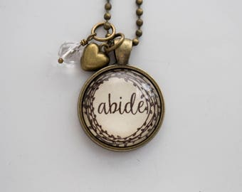 Abide Necklace - One Little Word - Inspirational Pendant - Word Jewelry - Custom Text Jewelry Gift for Women Abide Love Wedding Jewelry