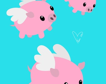 When Pigs Fly - Medium or Small Art Print