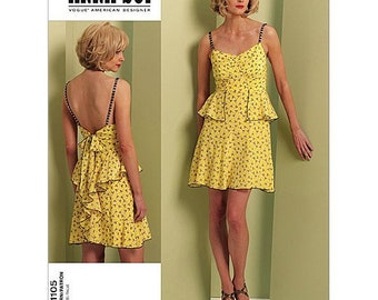 Vogue V1105 Size 4-10 Misses American Design Anna Sui Dress Sewing Pattern / Uncut FF