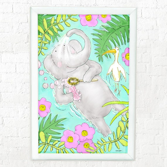 Elephant showering, nursery decor, art for kid's room, children's decor, kid's room art, kid's wall art, elephant art, whimsical elephant